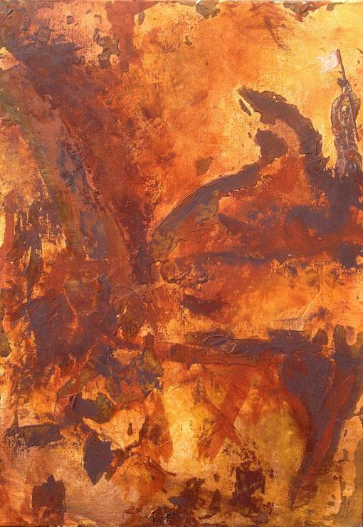 révolution, pigments minéraux et liants acryliques sur toile, 70*50
