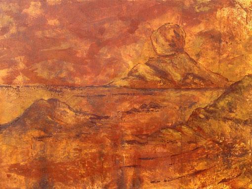 à l'ancienne, pigments minéraux et liant acrylique sur toile, 50*70