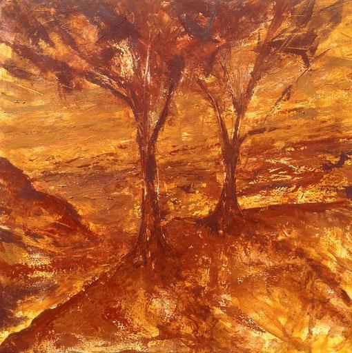 le grand amour, pigments minéraux et liants acryliques sur toile, 50*50