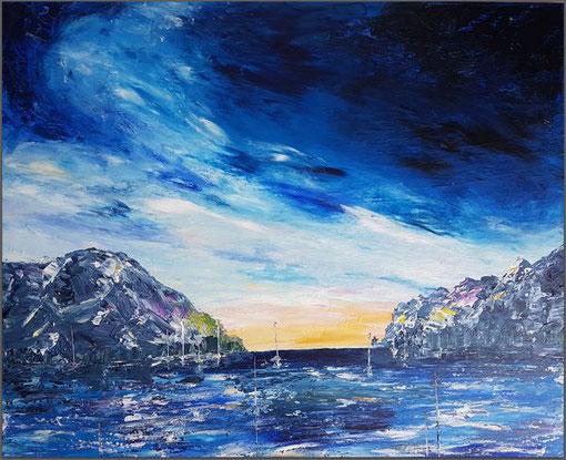 acheter tableau expressionnisme abstrait bleu océan