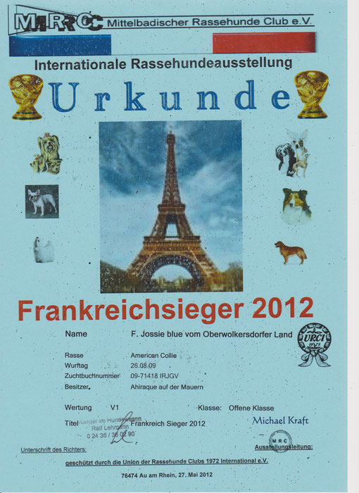 Pfingsten 2012 Frankreichsieger  V1 und Best of Class - 3