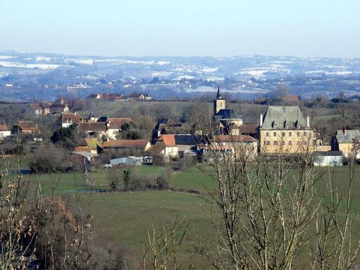 Prix, petit village d'Aveyron en hiver
