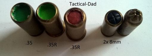 Verbotene Grenaille (Kleinschrot) Patronen in .35, .35R und 8mm.