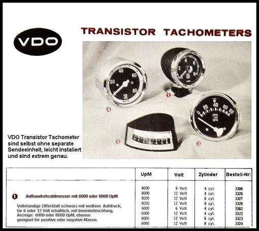 Verschiedene Drehzahlmesser Varianten von VDO