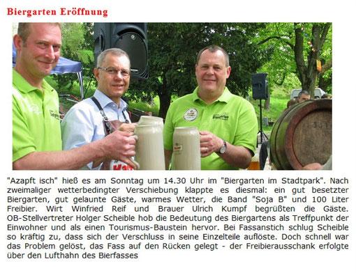 """Die Kaiserbrauerei informiert über die Eröffnung des """"Biergartens im Stadtpark"""" auf ihrer Homepage."""