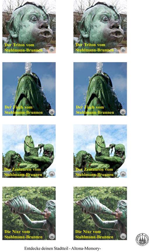 Dieser Bilderbogen enthält mehrere Motive vom Altonaer Stuhlmann-Brunnen, Entwurf: Wolfgang Vacano (c)