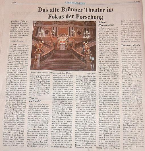 """Bericht der Landeszeitung über das """"Alte Brünner Stadttheater"""""""