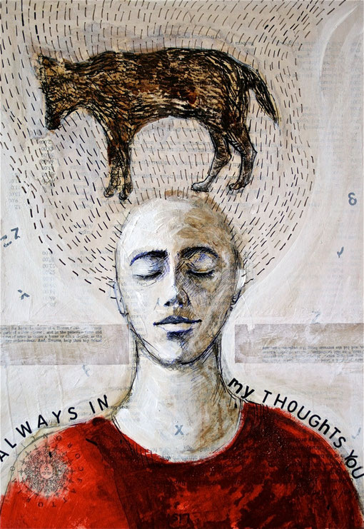 Always in my thoughts  -  mixed media and collage on recycled paper   29x41cm.