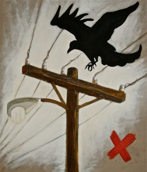 Crow - Mixed media and encaustic on linen 87x102cm.
