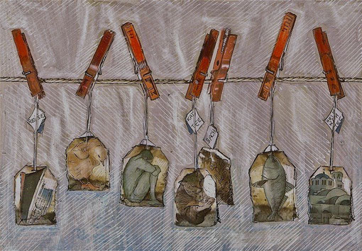 Homesickness tea and other remedies - Mixed media on paper. 14x21cm.
