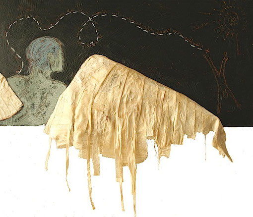 Ikarus in the dark - Mixed media and wax on wood. 120x50cm