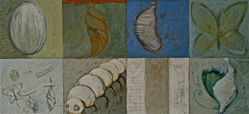Metamorphosis - Encaustic on 8 wood panels 118x50cm.