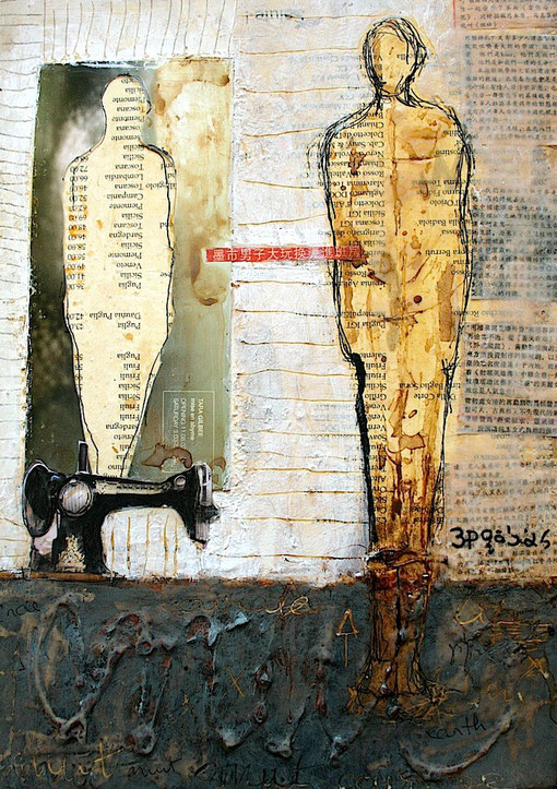 Model No 5 Ink, coffee , glue and wax on collage 29x43cm