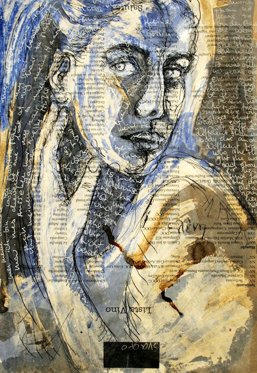 Eleni - Mixed media ( coffee, glue and ink ) on paper 29x41cm.