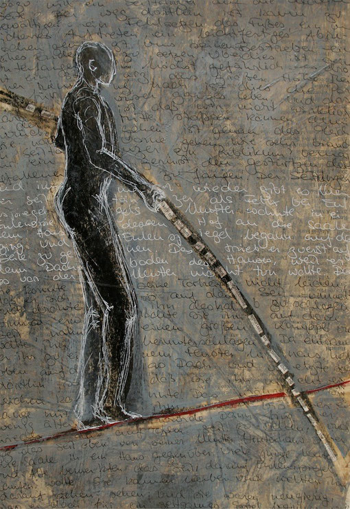 Tightrope walker  -  Mixed media and collage on paper. 29x41cm.
