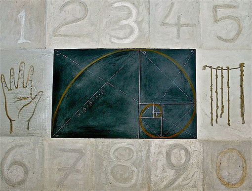 Golden Spiral - Mixed media on linen 122x91cm.