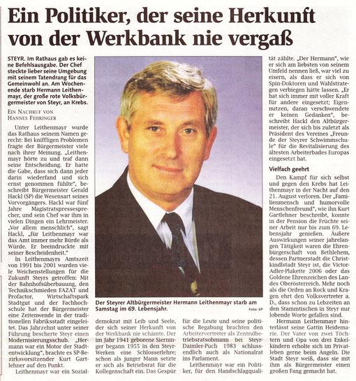 Nachruf von Hanes Fehringer, OÖ. Nachrichten, 23. August 2010