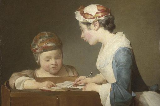 A partir de 1733 Chardin toma una decisión fundamental: introducir la figura humana en sus obras.Las razones fueron tanto artísticas como económicas. En  cuadros de género el artista capta escenas domésticas de niños y mujeres concentrados o ensimismados