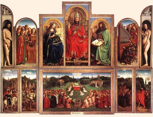 Retablo del Cordero Místico.Jan van Eyck 1432. Gante