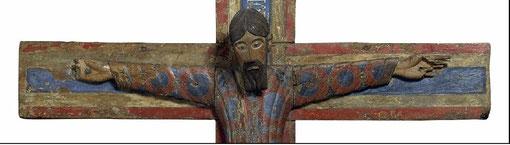 Majestad Batlló,1147.Talla en madera entelada y policromada al temple, procede de una iglesia de la Garotxa,Gerona.