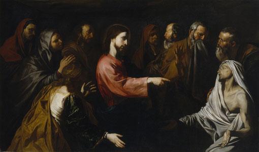 Resurrección de Lázaro, Museo del Prado,Madrid.Cristo plantado en medio de la composición, señala con su brazo a Lázaro que acaba de volver a la veda ante la mirada estupefacta de varios testigos, entre ellos Marta y María.(Jn 11,33)