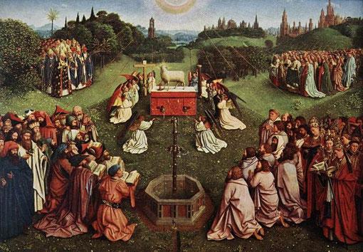 Detalle  Adoración del Cordero. Jan van Eyck1432