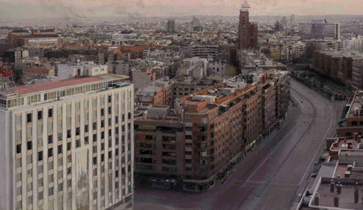 Madrid desde Torres Blancas,1974-1982,óleo sobre tabla 156x244,coleccionista privado, una de las vistas urbanas más importantes del artista manchego.La luz del atardecer marca 21.40 h