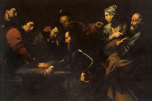 La negación de Pedro, 1615,Roma Palazzo Corsini.La relación Ribera-Caravaggio queda de manifiesto en la luz y el punto central de la escena: el dedo acusador de Pedro, que perturba, que interpela..una de las obras más admiradas del corpus Ribera.