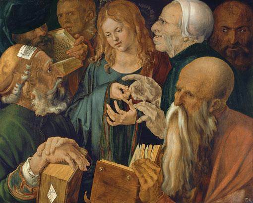 Jesús entre los doctores, Alberto Durero, 1506.Óleo sobre tabla (64.3 x 80.3 cm) , Museo Thyssen-Bornemisza .Madrid