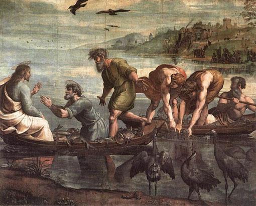 El milagro de los peces de Jesucristo es el primero de los 10 cartones de tapices que  León X encargó a Rafael para la Capilla Sixtina de Roma. Creados entre 1515 y 1516.Hoy en el Albert Museum de Londres.