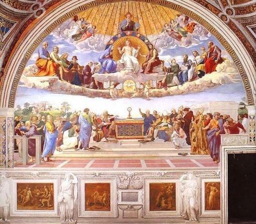 """La disputa del Sacramento"" o ""Triunfo de la teología"". Sala de la Signatura. Rafael.Museo Vaticano"