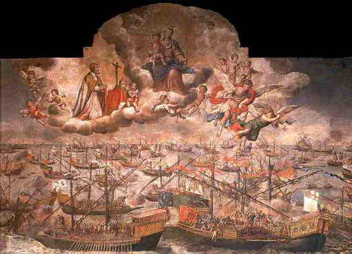 Batalla de Lepanto y Virgen del Rosario. Lucas Valdés Leal, Iglesia de la Magdalena, Sevilla. El 7 de Octubre de 1571 tuvo lugar esta batalla naval, cuya victoria fue atribuida al rezo del Rosario y sirvió para frenar la expansión turca por  Mediterráneo