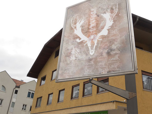Installation in der Fussgängerzone Lana, Freiluftgalerie
