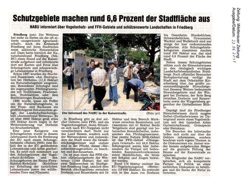 Naturschutz-Erlebnistag 14. Mai 2011 - Infostand auf der Kaiserstraße in Friedberg