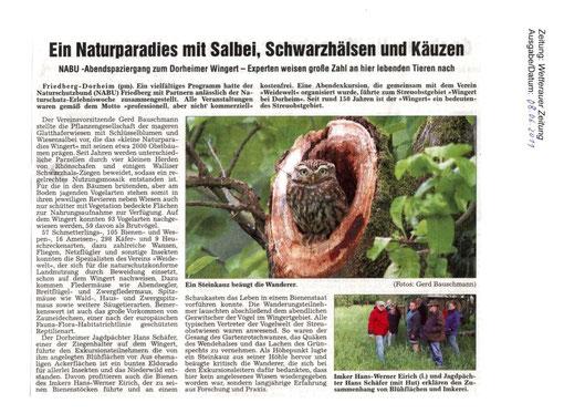 Naturschutz-Erlebnistag 15. Mai 2011 - Abendexkursion zum Dorheimer Wingert
