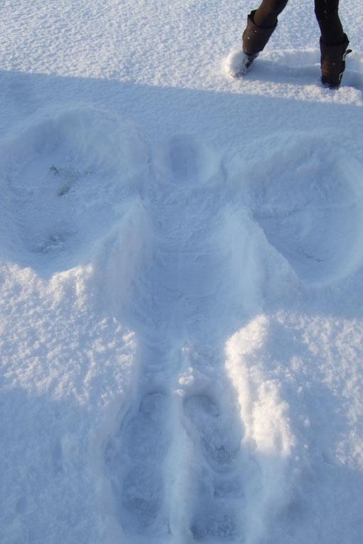 Unser erster Schneeengel im Garten! =)