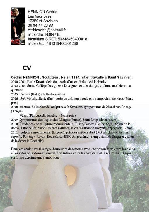 cedricovich hennion cédric sculpteur sculpture saint savinien