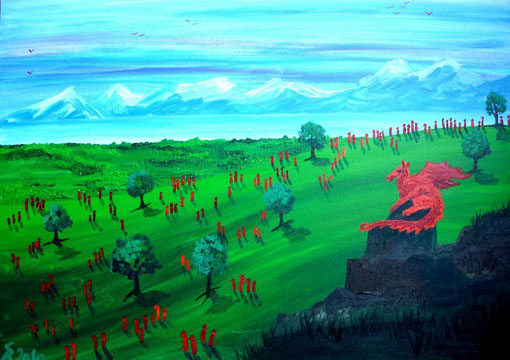 Der Drache, 2010 (Acryl auf Leinwand, 50x70)