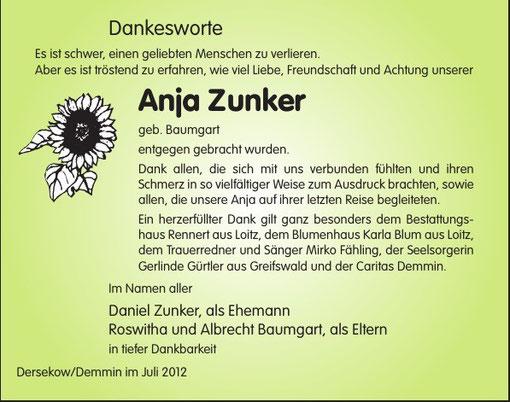 Anja Zunker - Demmin - Trauerredner