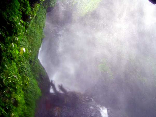 Mist in front of the waterfall
