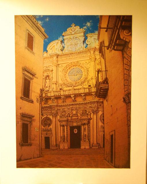 Gino Manno – Basilica di Santa Croce – Lecce – foto cartone – 19 X 24