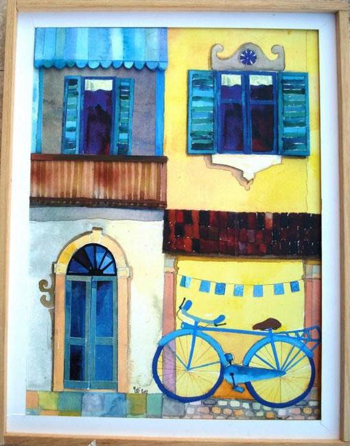 Meli Claudio – La grande bici – tecnica mista su cartoncino – 35 X 50