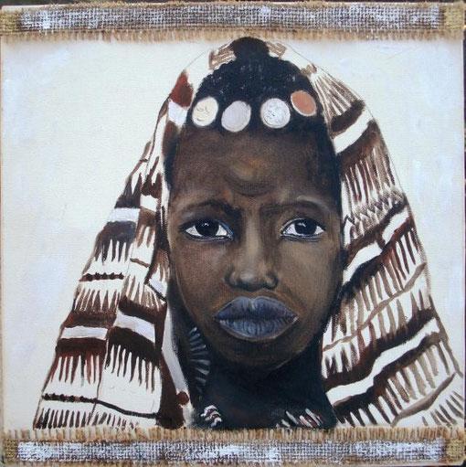 Berardicurti Barbara - Donna tuareg - olio tela di juta - 30 X 30