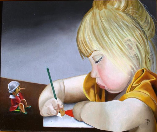 Palombini Teresa – il mio Pinocchio - olio MDF - 70 X 50