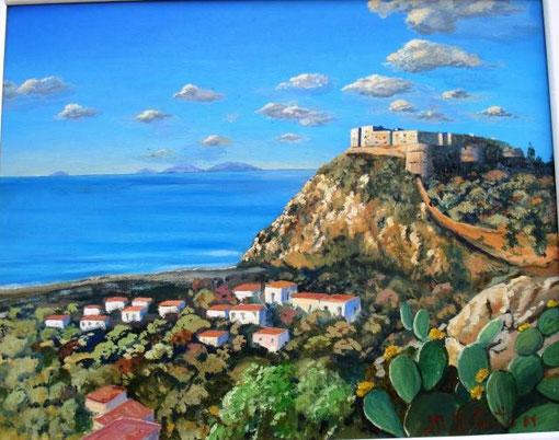 Giunta Maria Teresa - Il castello di Milazzo - olio tela - 50 X 40