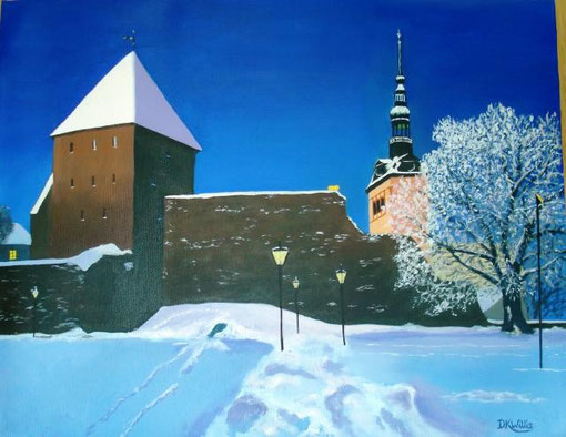 Willis Karen – Tallinn old city walls - olio tela - 35 x 45