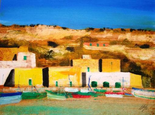 Magazzini Salvatore - Marina a Malta - olio tavola legno - 40 X 30