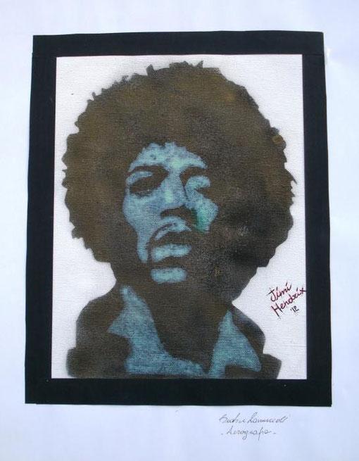 Zanuccoli Beatrice - Jimi Hendrix - tecnica mista tela - 30 X 40