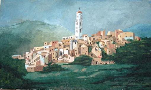 Gioberti - Bussana vecchia - olio tela - 50 x 30