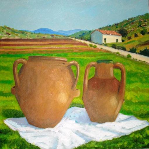 Mileo Gianni - Campagna e brocche - olio tela - 40 X 40